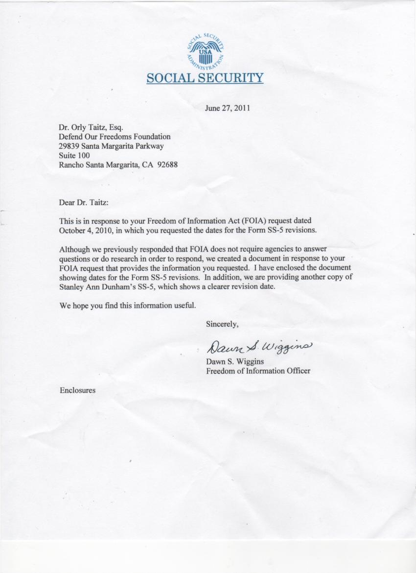 letter from social security 06.27.2011 re Ann Dunham 1 : OrlyTaitzEsq ...
