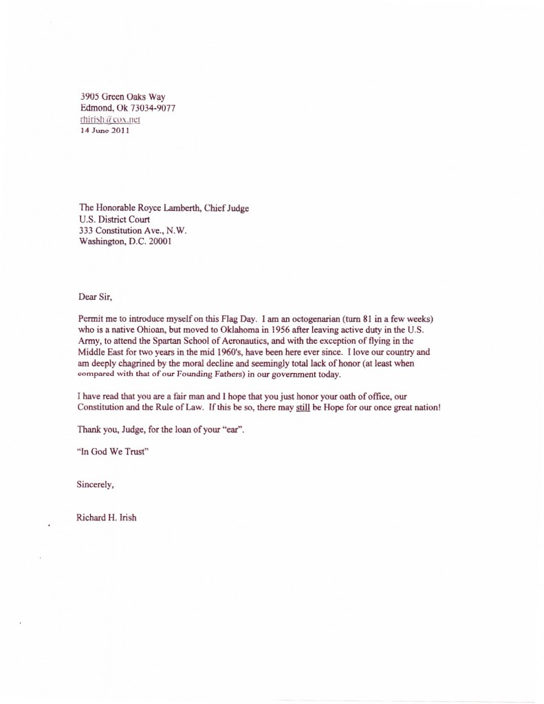Sample Letter to a Judge