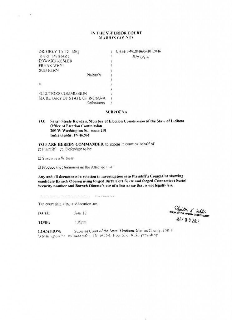 Signed And Stamped By The Court Clerk Subpoenas Ordering Alvin Onaka